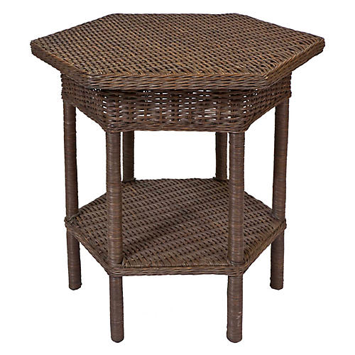 Loft Wicker Side Table, Walnut