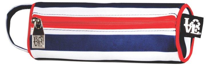 S/2 Nautical Stripe Pouches, Navy/Red