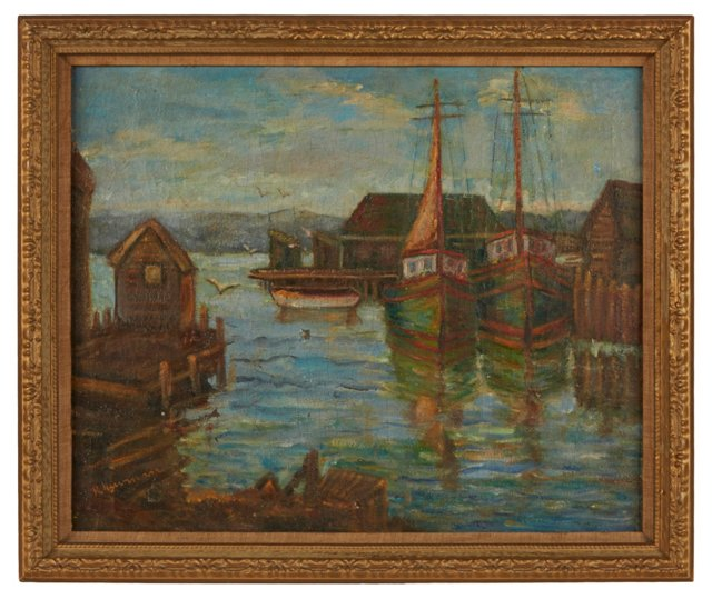Oil Painting, Boats in Harbor