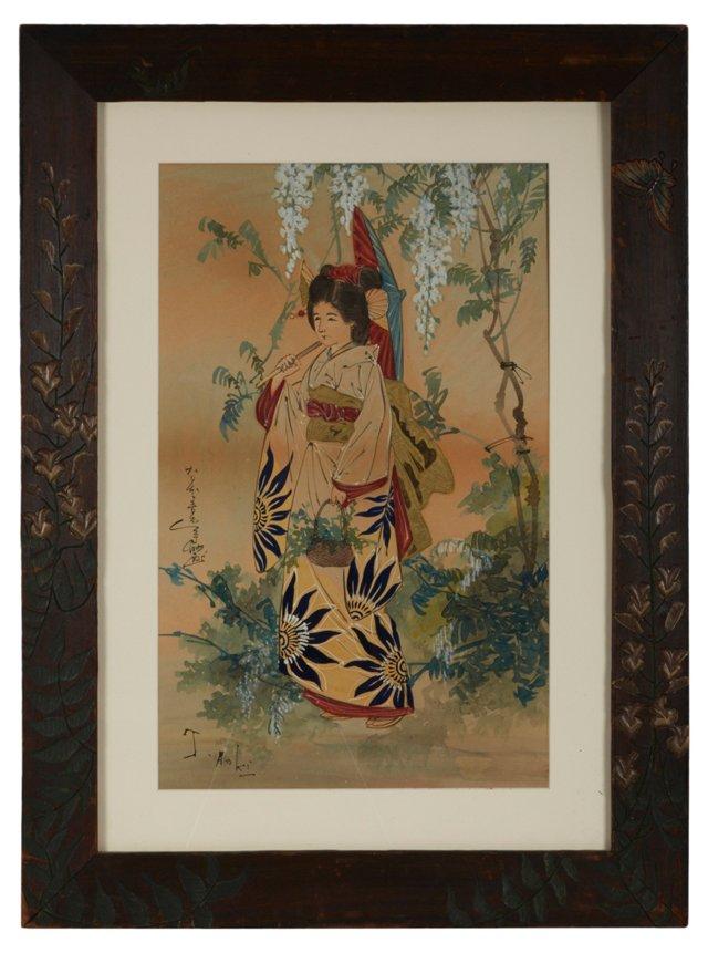Antique Watercolor, Portrait of a Geisha