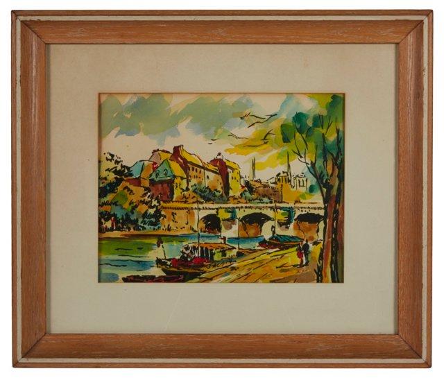 Watercolor, Stone Bridge