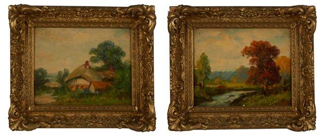 Oil Painting, Landscape, Set of 2