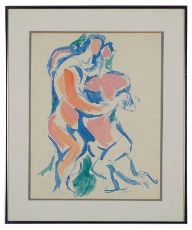 Gouache on Paper, Dancing Figures