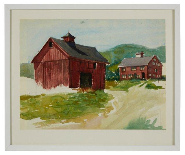 Watercolor, Farm & Barn