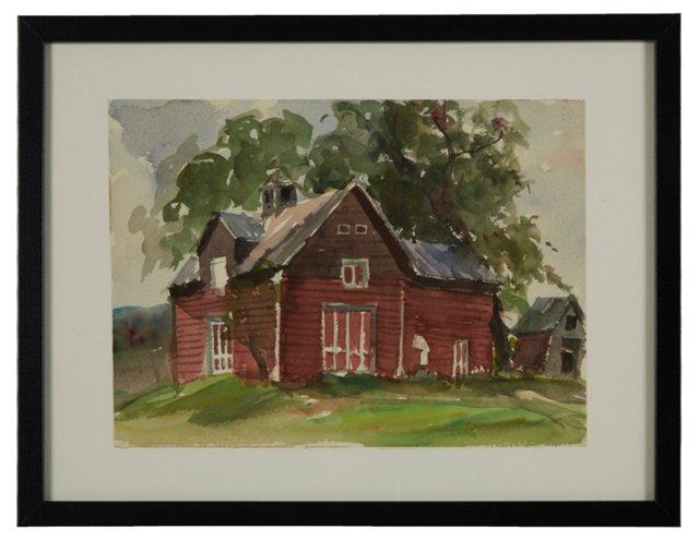 Watercolor, Copper's Barn