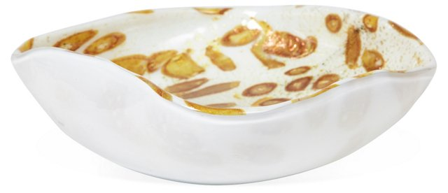 Gold & White Murano Glass Bowl