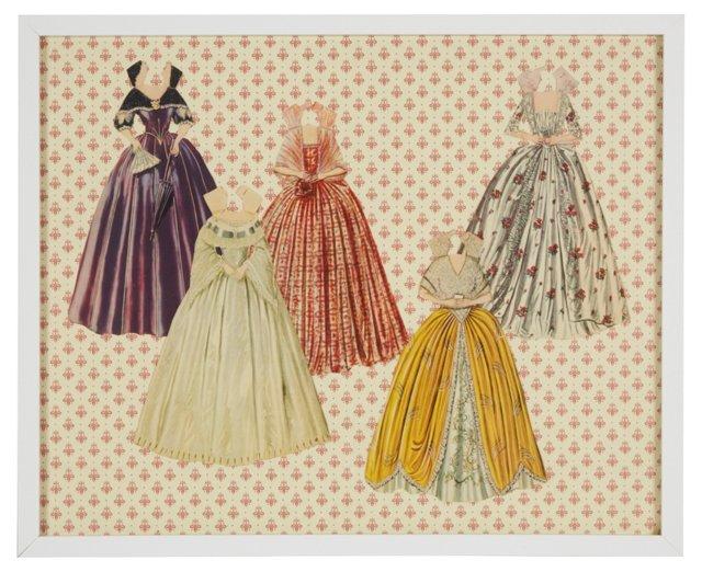 Framed Paper Doll Art VI