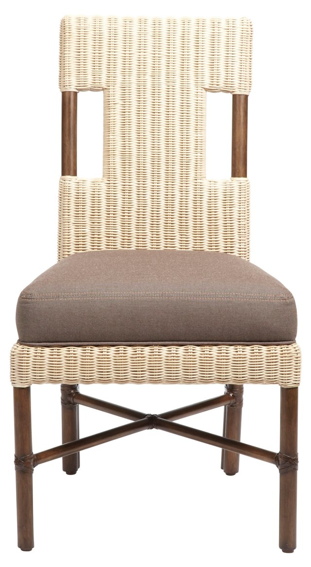 Burton Woven Side Chair, Ivory/Taupe