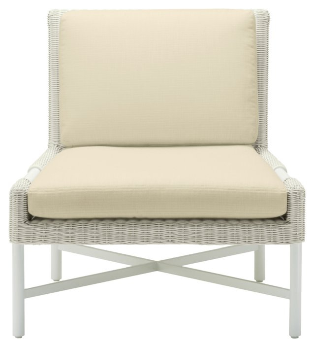 Pheasant Outdoor Slipper Chair, Ivory/Oa