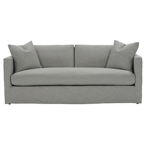 Shaw Bench-Seat Slipcover Sofa, Mist Crypton