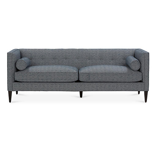 Georgina Tufted Sofa, Indigo Crypton