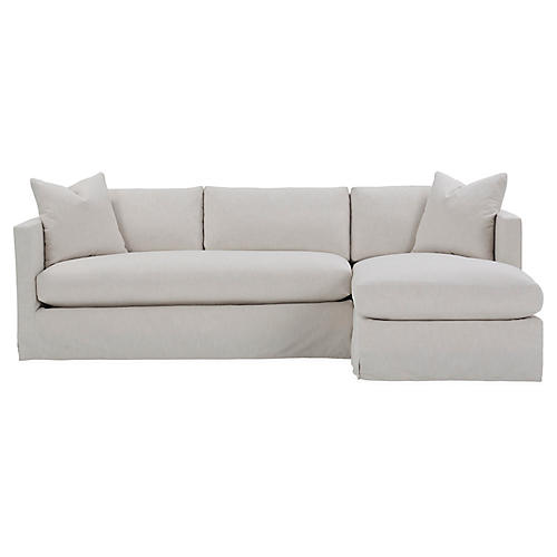 Shaw Right Bench-Seat Sectional, Ivory Crypton