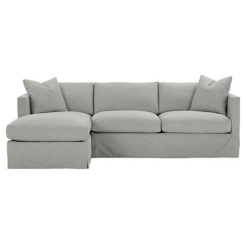 Shaw Left-Facing Sectional, Mist Crypton
