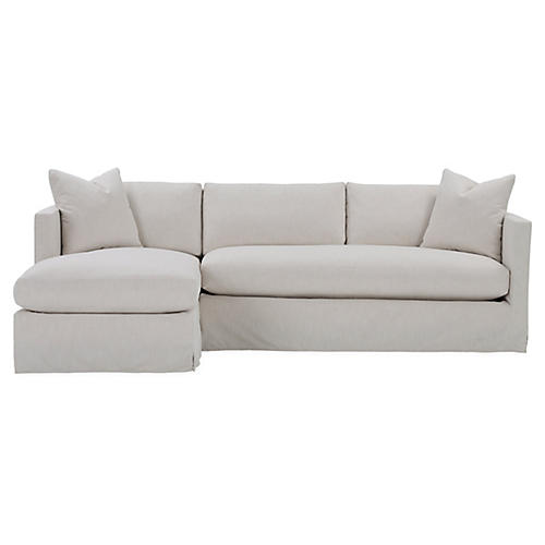 Shaw Left Bench-Seat Sectional, Ivory Crypton