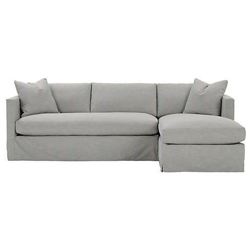Shaw Right Bench-Seat Sectional, Mist Crypton