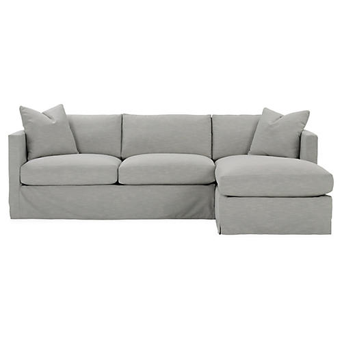 Shaw Right-Facing Sectional, Mist Crypton