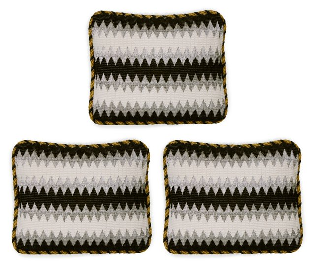 Vintage Wool Zigzag Pillows, Set of 3