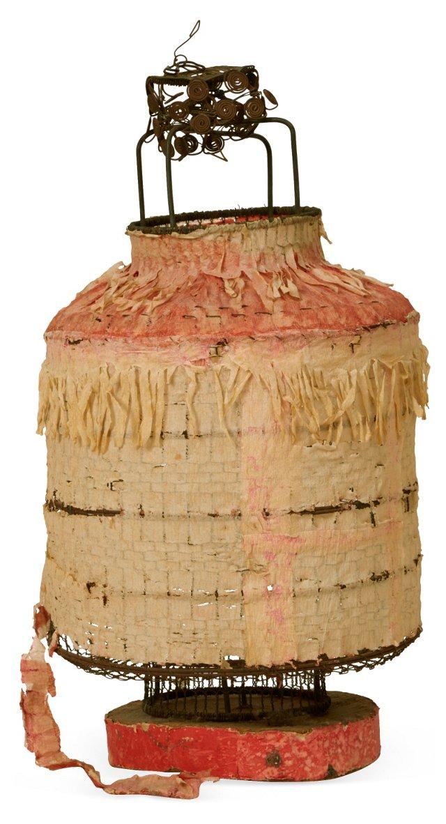 Vintage Papier-Mâché & Metal Lantern