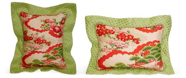 Vintage Kimono Pillows, Set of 2