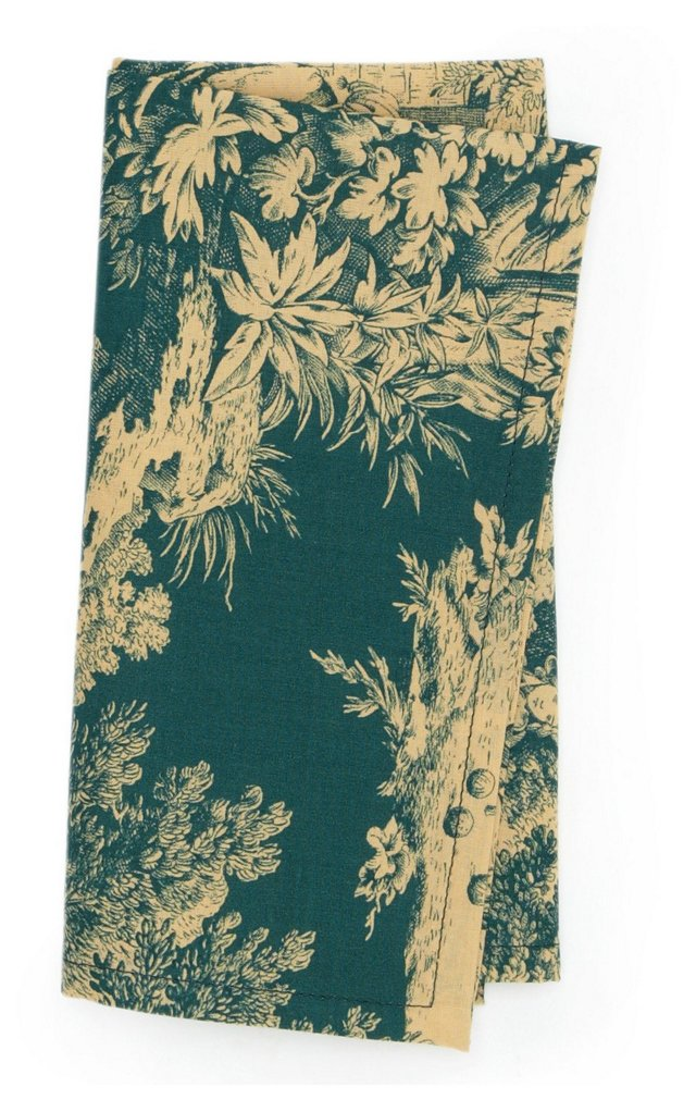 S/4 Indiennes Toile Napkins, Green