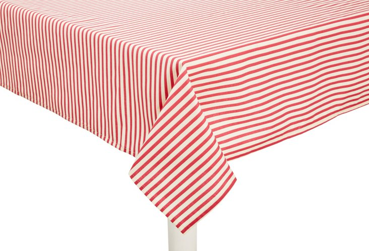 Versailles Stripe Tablecloth, Rose Red