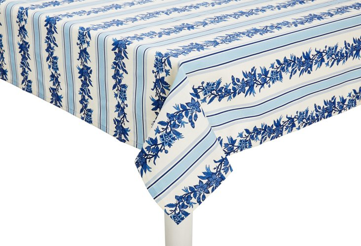 Fleur de Vie Tablecloth, Blue/White