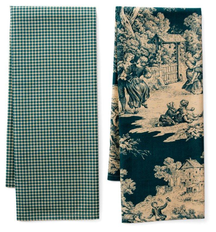 S/2 Indiennes Tea Towels, Green
