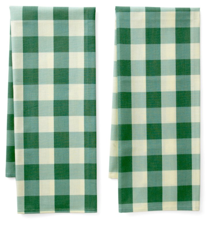 S/2 Large Tea Towels, Green Checkered