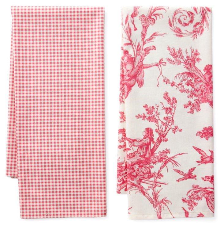 S/2 Dish Towels, Versailles Rose