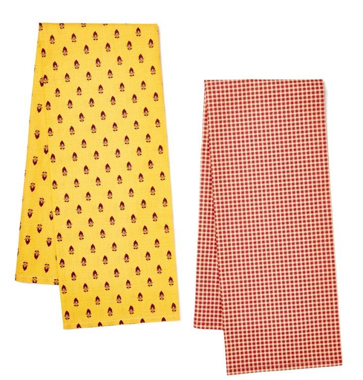 S/2 Dish Towels, Vence Mini Check