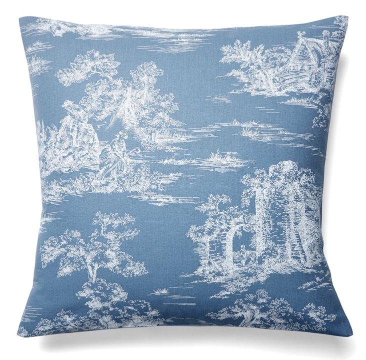 Parc Monceau 19x19 Cotton Pillow, Blue