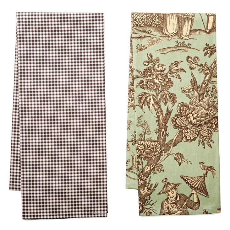 Asst of 2 Dish Towels, Aqua/Charcoal