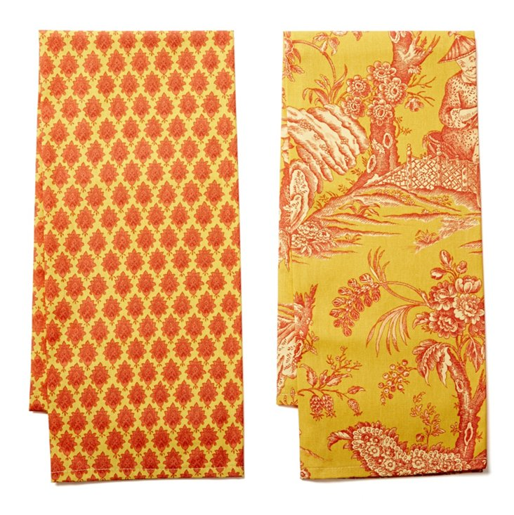 Asst of 2 Dish Towels, Saffron/Diamond