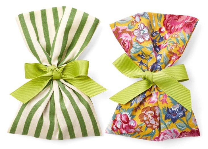 S/2 Lavender Sachets, Stripes & Flowers