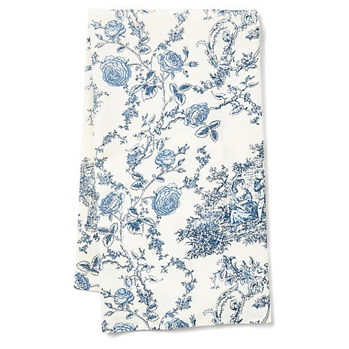 Princesse Tea Towel, Ecru/Blue