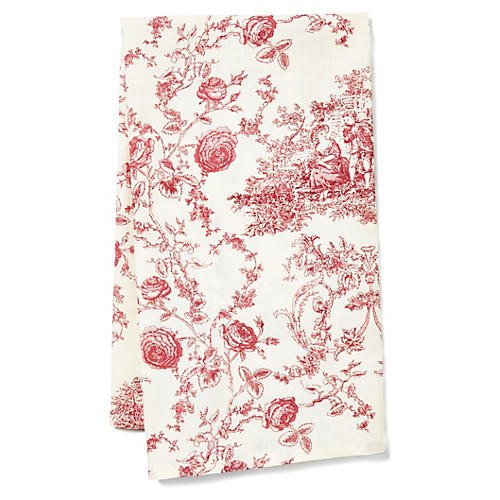 Princesse Tea Towel, Ecru/Berry