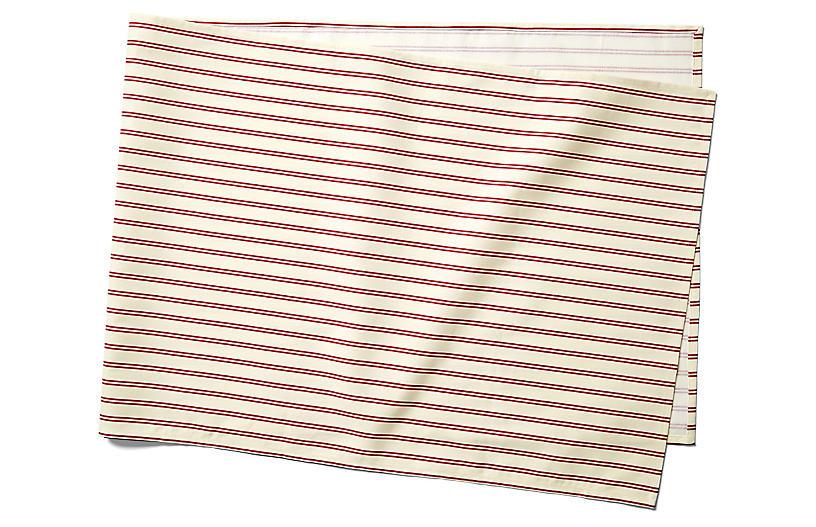 Stripe Table Runner, Red/Ecru