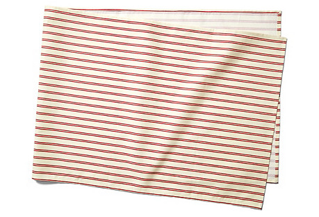 Stripe Table Runner, Red/Ecru