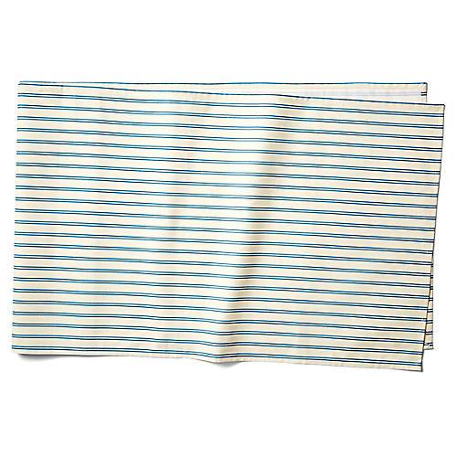 Stripe Table Runner, Blue/Ecru