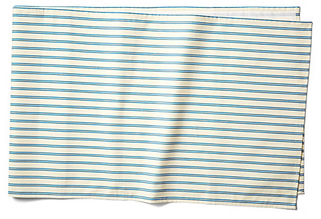 Stripe Table Runner, Blue/Ecru