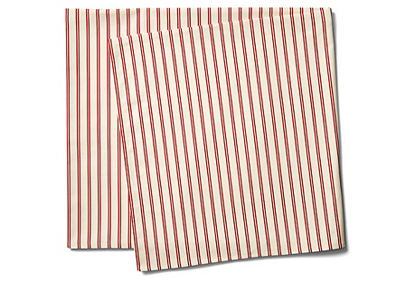 Stripe Tablecloth, Red/Ecru