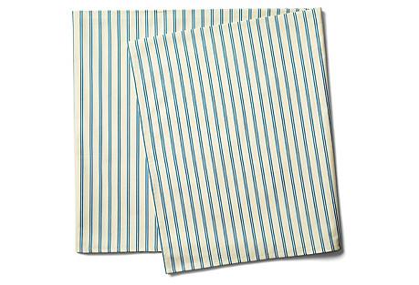 Stripe Tablecloth, Blue/Ecru