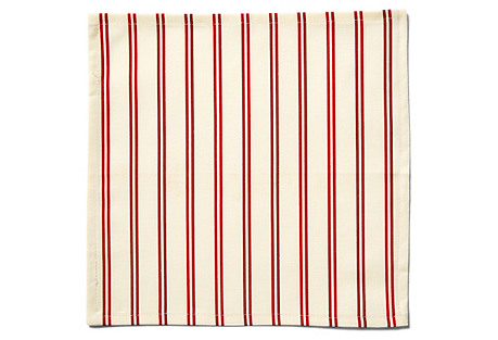 S/4 Stripe Cocktail Napkins, Red/Ecru