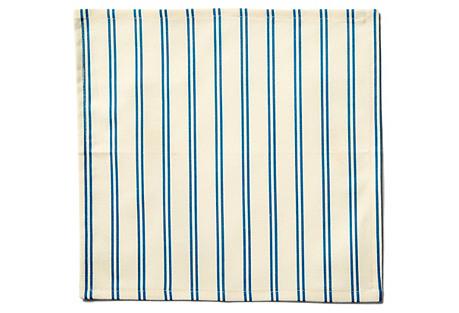 S/4 Stripe Cocktail Napkins, Blue/Ecru