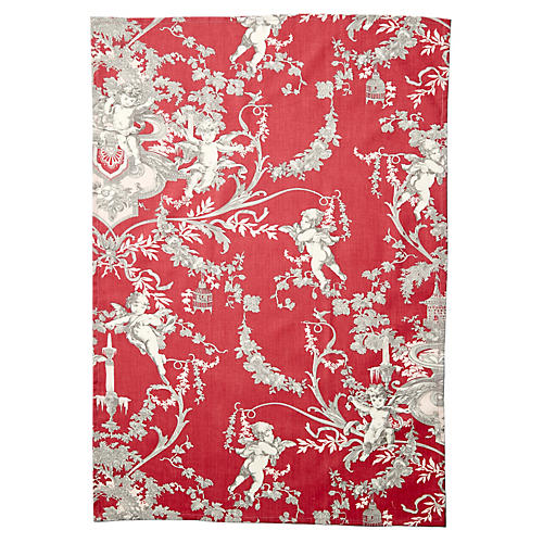 Old Rose Tea Towel, Red/Gray