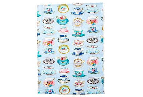 Tea Time Tea Towel, Blue/Multi