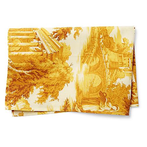 Toile Tea Towel, Gold/White