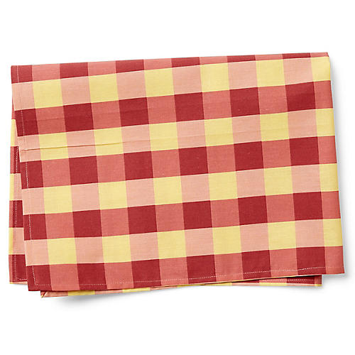 Large Check Tea Towel, Red/Saffron