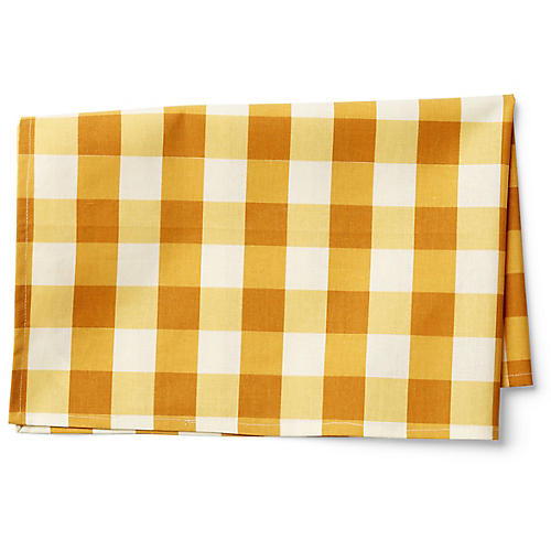 Large Check Tea Towel, Gold/White