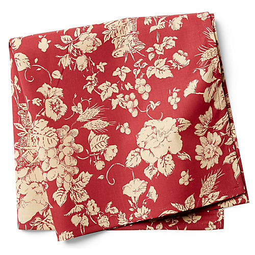 S/2 Panier Dinner Napkins, Red/White